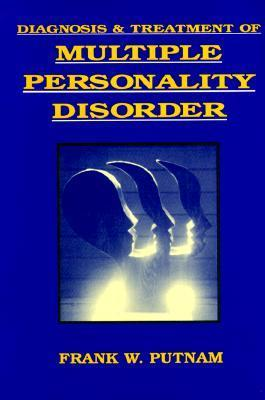 """Image description: Blue book cover with yellow block letters says """"Diagnosis and Treatment of Multiple Personality Disorder"""". Author's name is at the bottom. In the center is an image of five facial silhouettes facing right and overlapping, with light coming between them."""