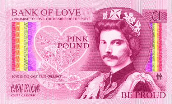 """A fake £1 note, designed to look like a """"pink pound"""". There are rainbow flags on the side and the picture of Queen Elizabeth has a moustache."""