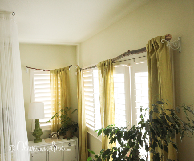 tree branch curtain rod olive love