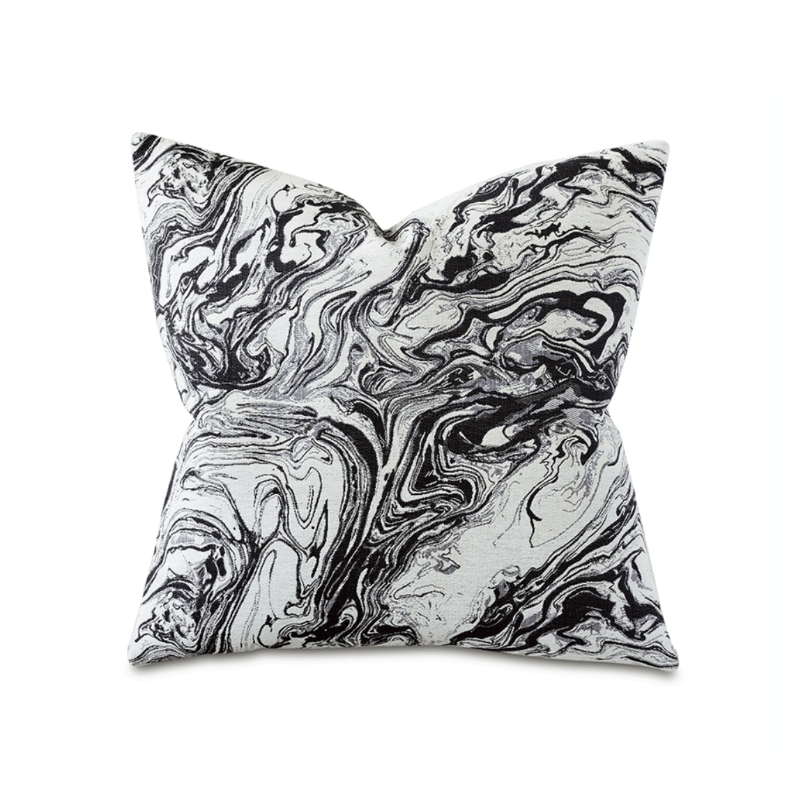 marbleized square pillow in black white maker muse