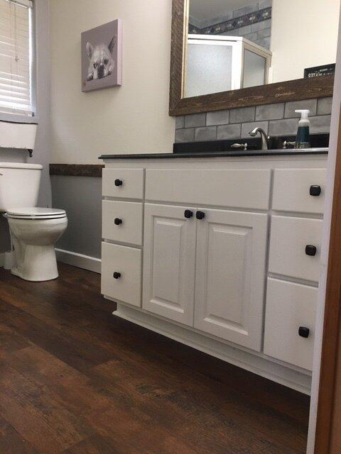 barnwood chic master bathroom remodel