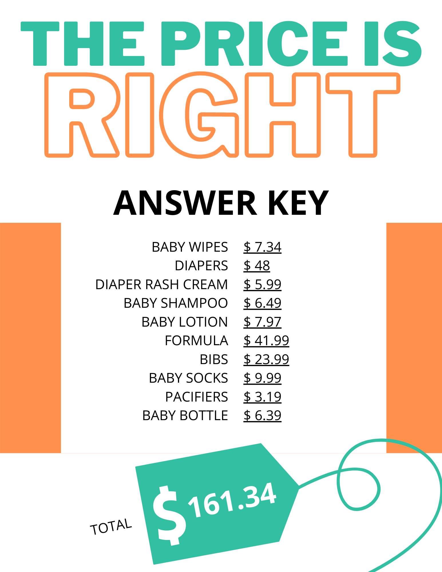Price Is Right Answer Key : price, right, answer, Drive-through, Shower, Games