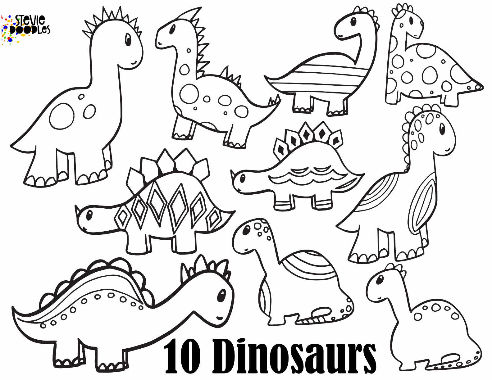 Free Dinosaur Coloring Free Coloring Pages Stevie Doodles