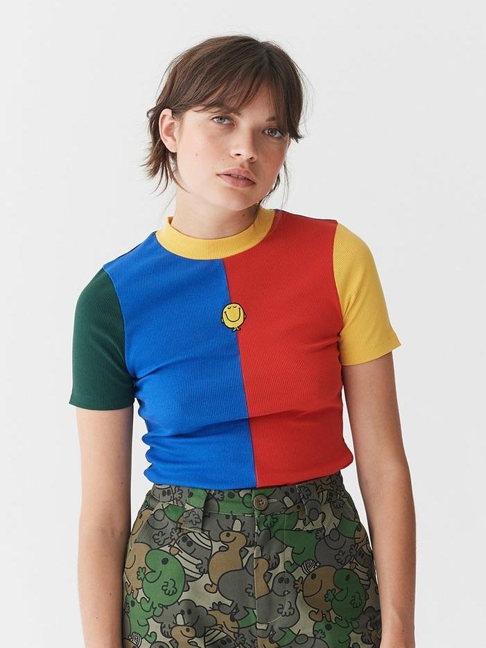 △ Lazy Oaf x Mr. Men Mr. Happy Rib Fitted T-Shirt US$38.8 (~HK$304)