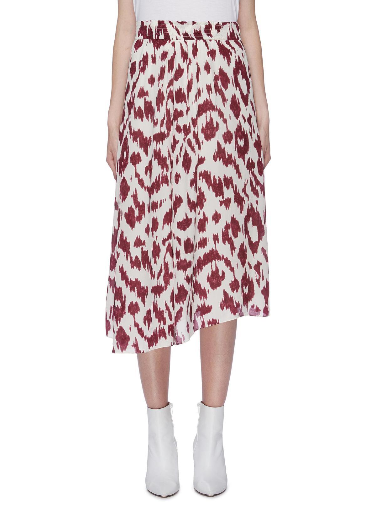 Isabel Marant Étoile 'Yeba' Leopard Print Silk Crepe Midi Skirt HKD$3,780