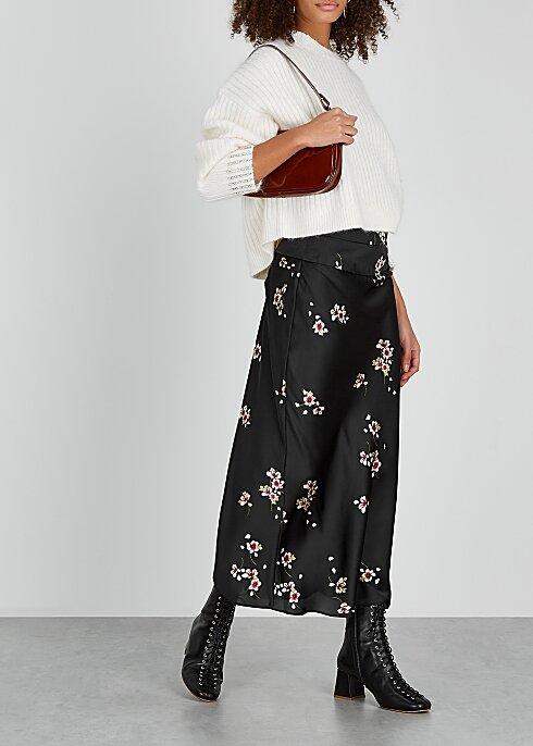 FREE PEOPLE Normani floral-print satin midi skirt HK$640