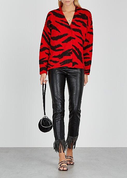 PHILOSOPHY DI LORENZO SERAFINI Red zebra-intarsia wool cardigan HK$4,430