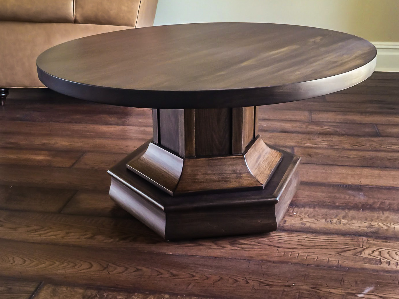 round high low game table in maple