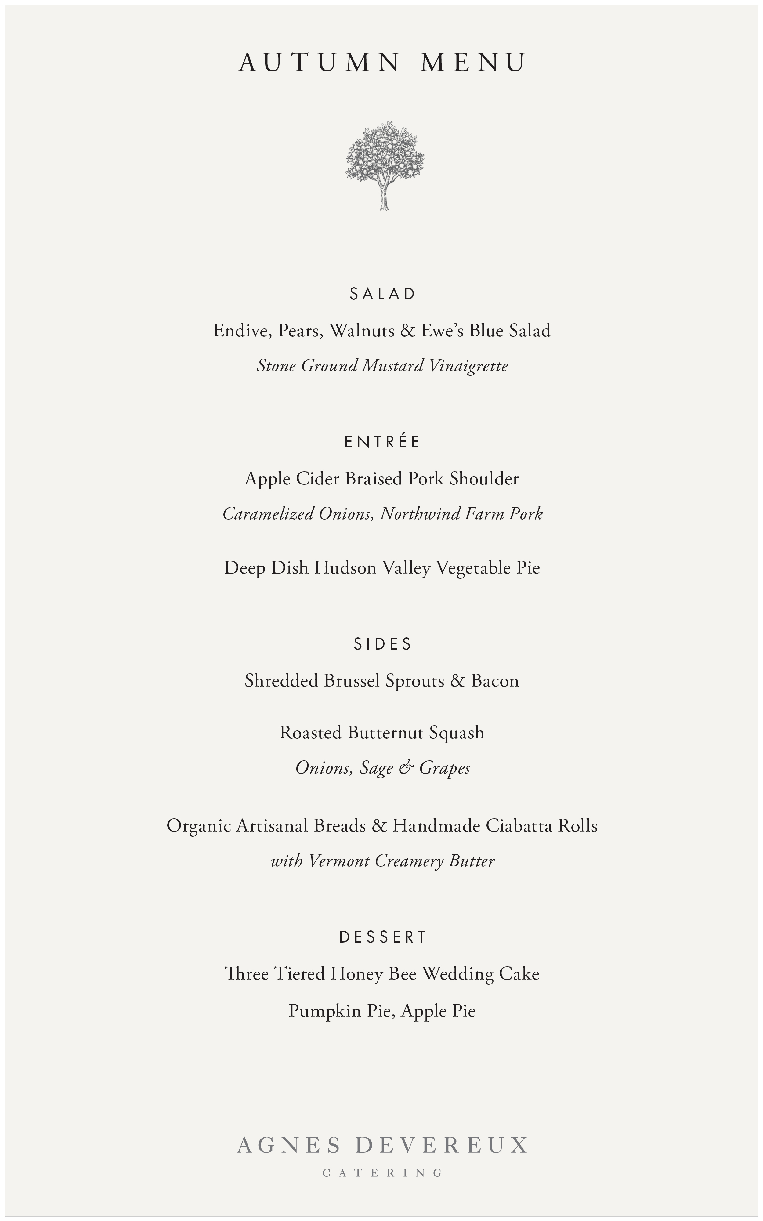 Our Hudson Valley Menus — Agnes Devereux Catering