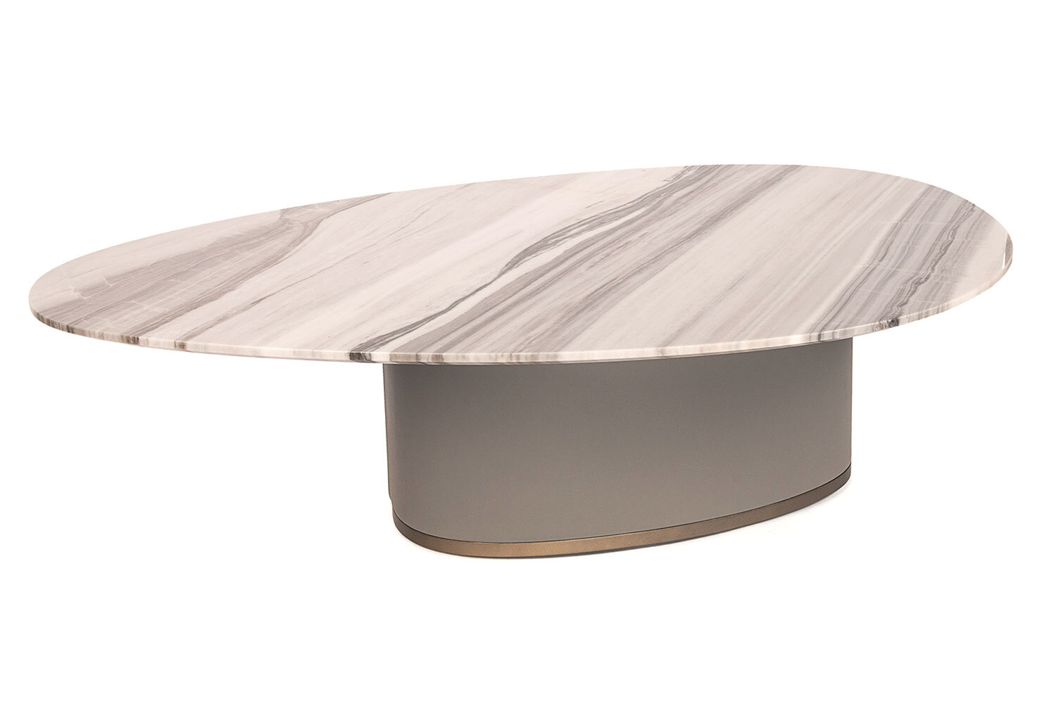 Marble Top Coffee Table With Gray Leather Base Giorgetti Sr Hughes