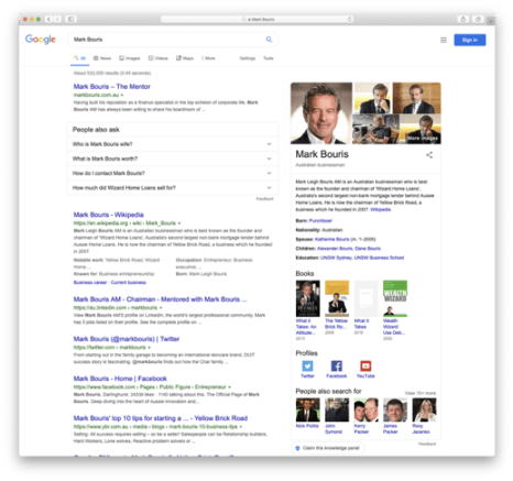 Mark Bouris' search results are a great example of building and maintaining a strong online reputation.