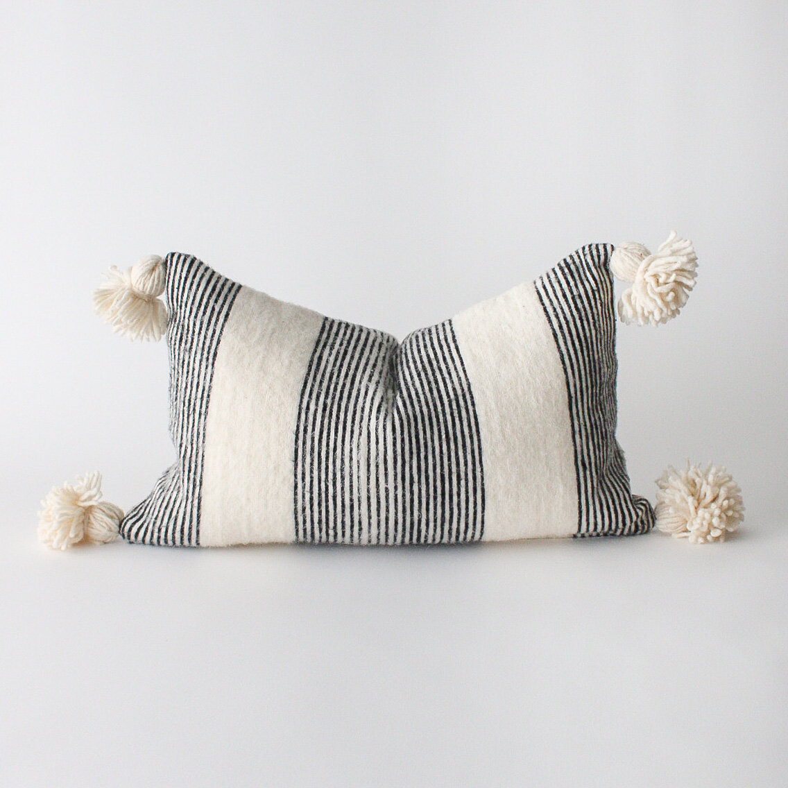 moroccan pom pom pillow cover stripe the elementary home