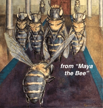 """Color plate from the original """"Maya the Bee"""", Project Gutenberg"""
