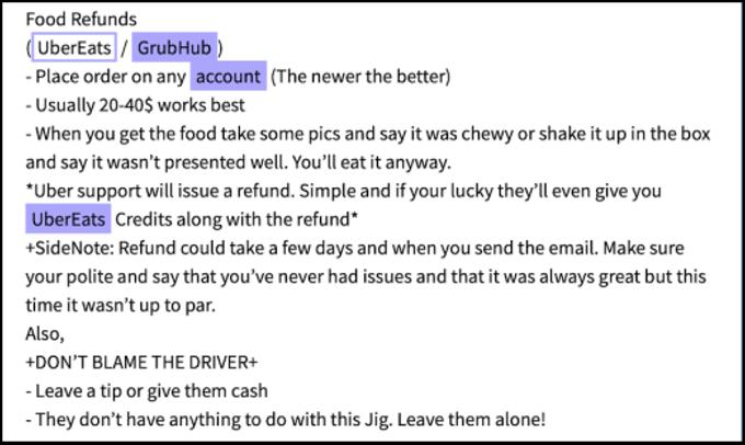 Figure 4 - UberEats & GrubHub Fraud Guide for Single-Use. Source: DarkOwl Vision (976763716e16fa2f111a0dd6aebe903a)