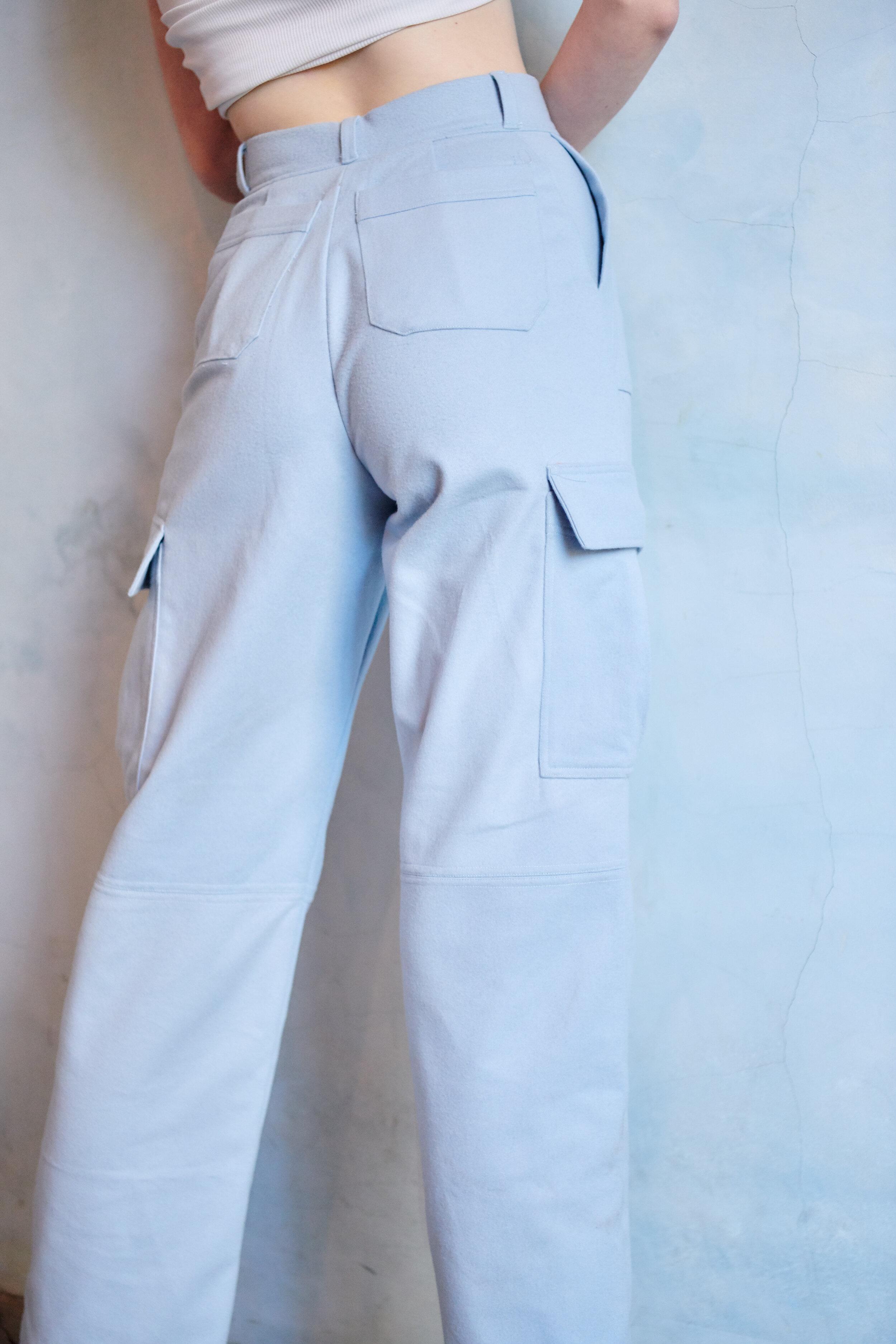 alfie baby blue cashmere cargo pants