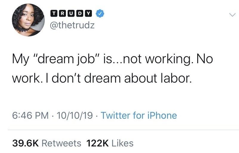 Tweet about not dreaming of labor