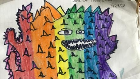 Can we draw 1000 monsters? - Setting out to draw 1000 monsters we hoped to inspire students to brainstorm new possibilities for art-making, value/honor mistakes and create a larger collaborative work as a group.~Pasteur 4th Grade Teacher Arturo Barrera and Teaching Artist Chuck Jones