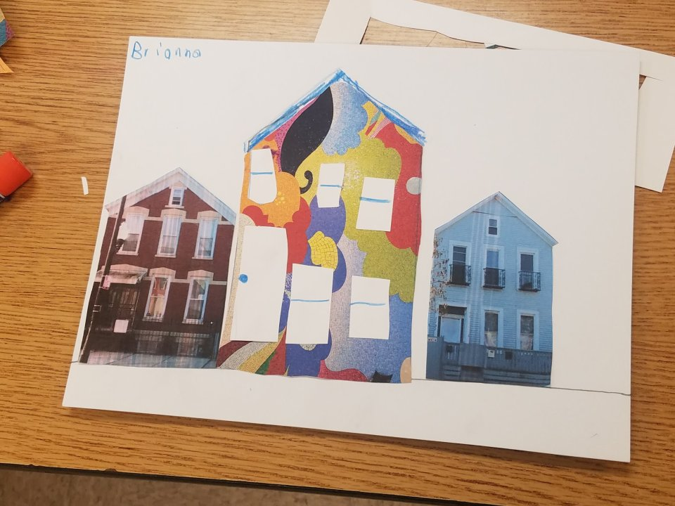 How can we Map our Personal Experience and Diverse Interpretation of Visiting Chicago Public Art? - Image: A student covered a photo of a house  from their neighborhood with a portion of Carlos Rolón/Dzine's, Time is the Enemy (Revisited), which is located in the CTA's Sedgwick station.