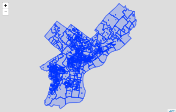 Basic map of Philadelphia gun violence (leaflet; this is a static screenshot of an interactive map). Source: OpenDataPhilly