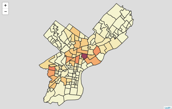 Basic Leaflet choropleth (this is a static screenshot of an interactive map). Source: OpenDataPhilly