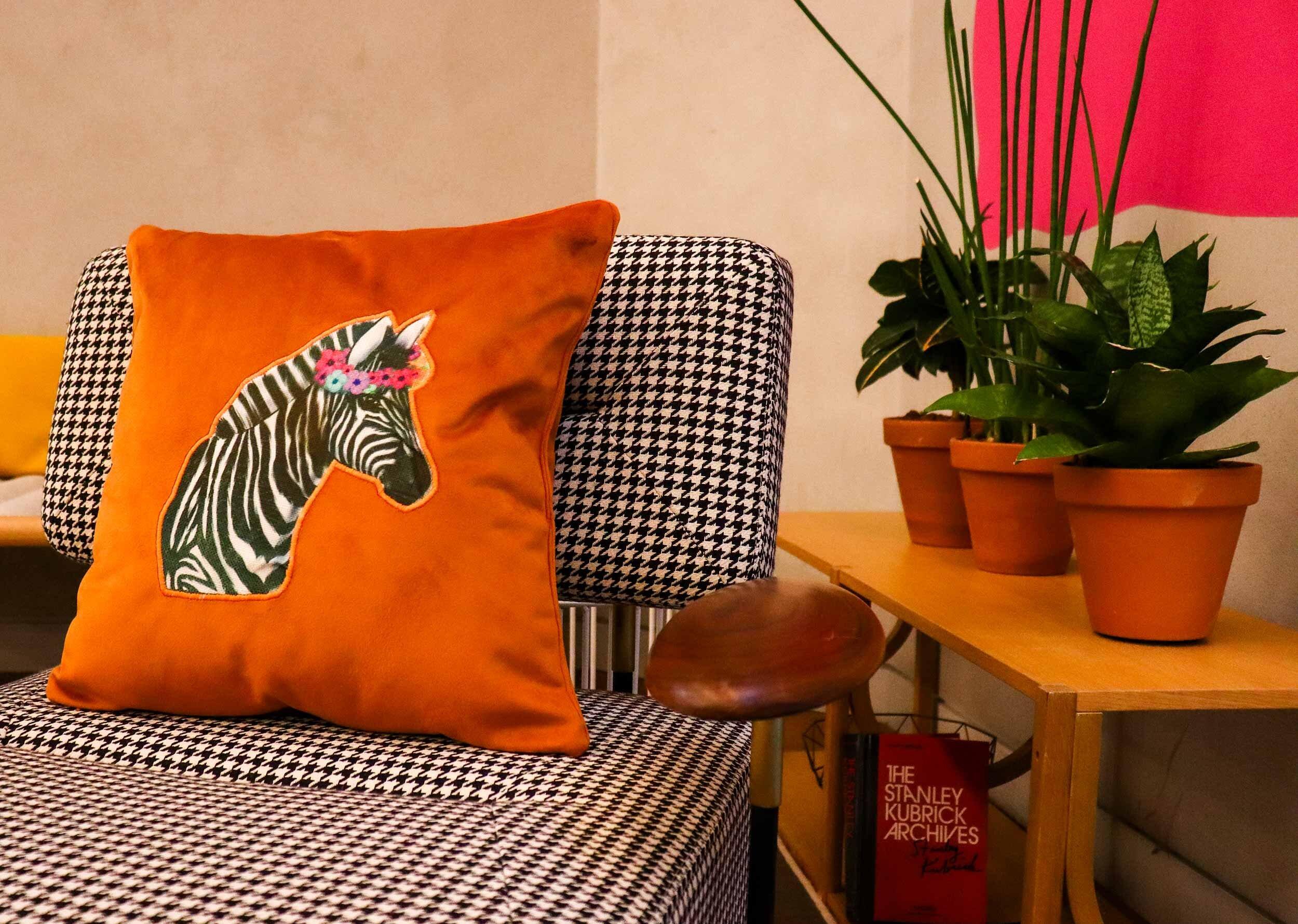 zebra flower ochre velvet cushion clara birdie homeware