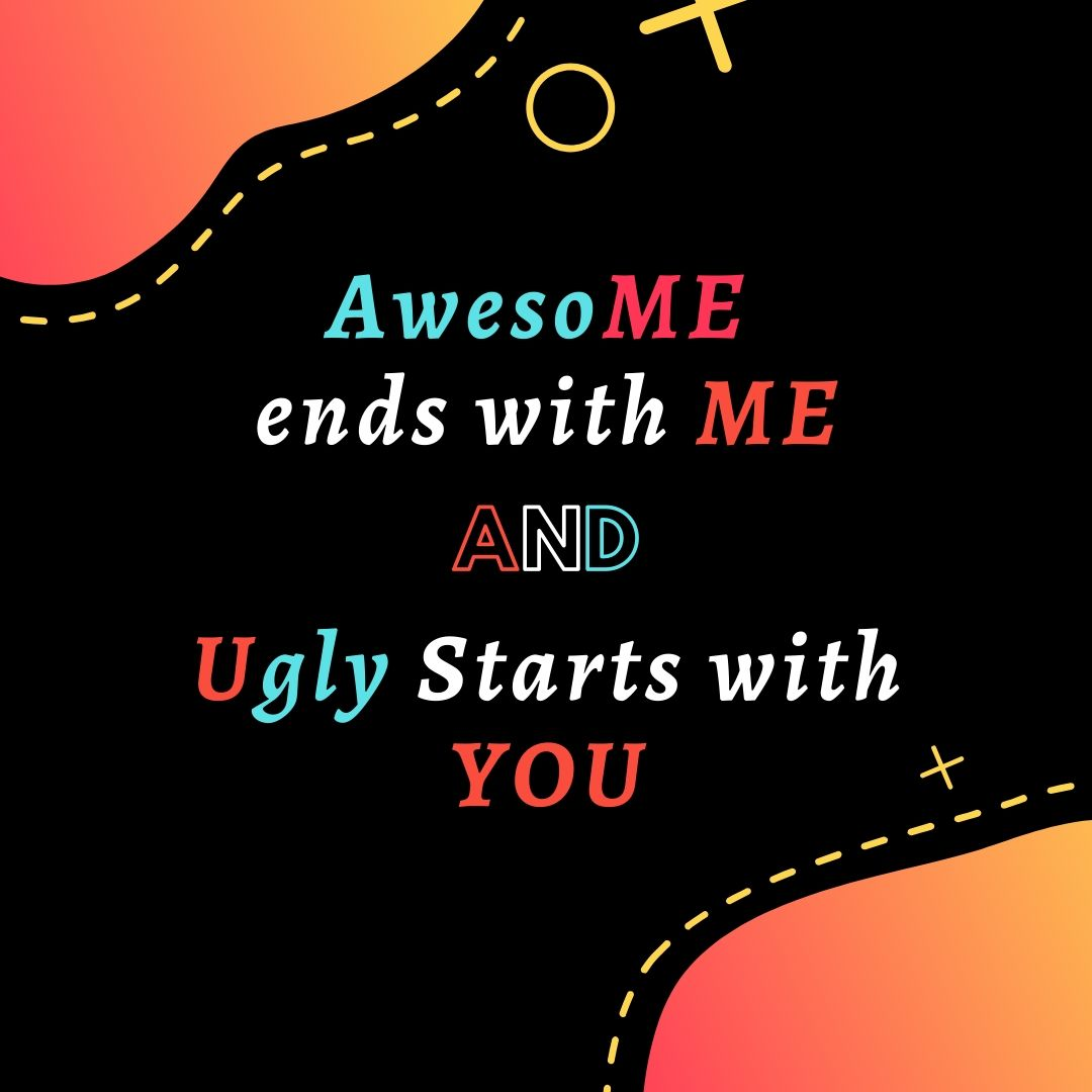 Awesome ends with Me and Ugly starts with You Funny WhatsApp Dp Image full HD free download.