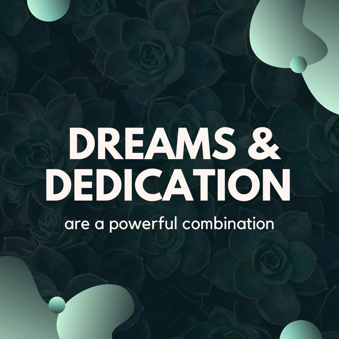 Dreams and dedication are a powerful combination WhatsApp Quote Dp Image full HD free download.