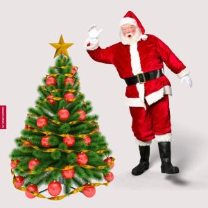 Images Of Santa Claus And Christmas Tree full HD free download.