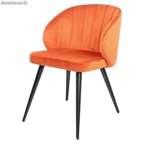 chaise de style mid century en acier velours couleur orange