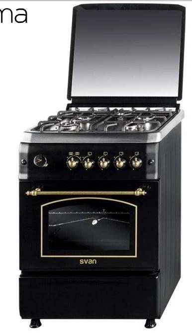 Cocina 4 fuegos Rstica Negra 60 x 60cm gas butano svan SVK6601RN