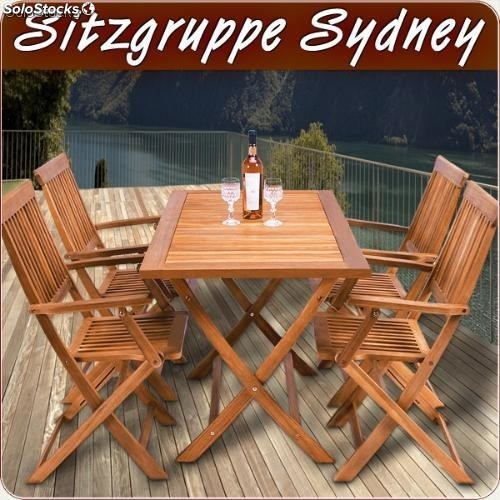 Mesa de madera y 4 sillas en conjunto para jardin