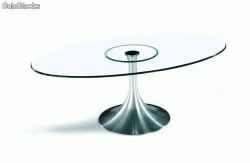 Mesa MONACO ovalada diseo aluminio y cristal