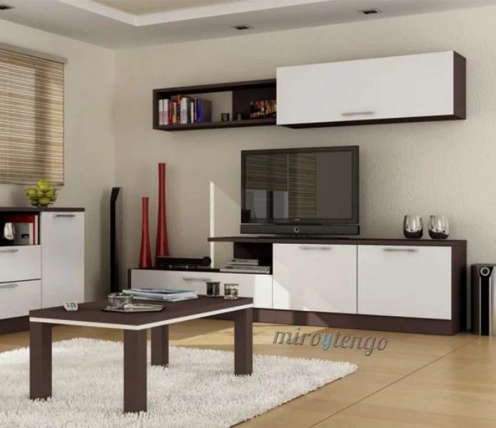 Mueble de saln comedor color wengu y blanco Conjunto