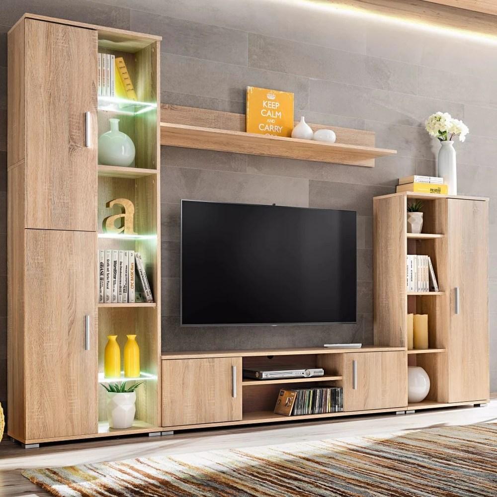Mueble de saln de pared para TV con luces LED roble Sonoma