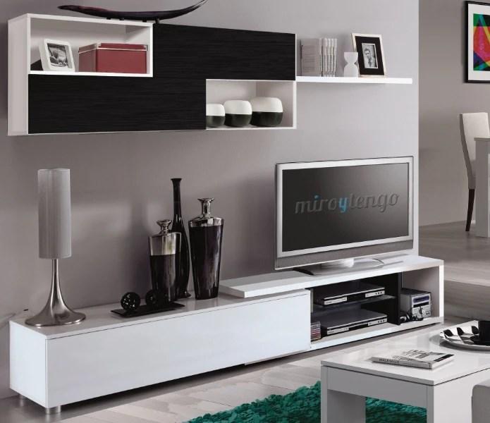 Mueble modular TV completo de saln comedor color blanco