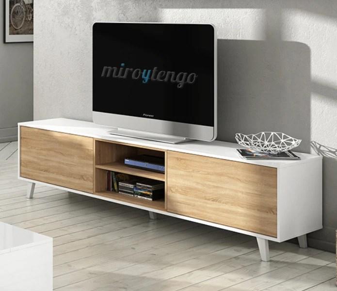 Mueble TV de salon modulo bajo y estante nordico blanco y