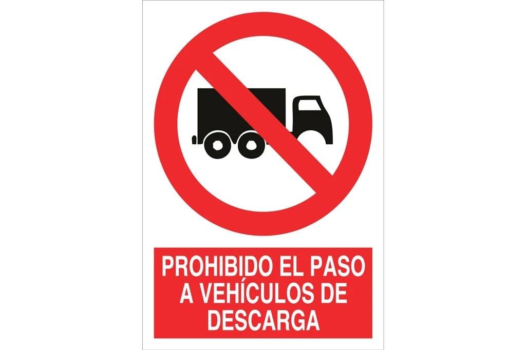 Señal Prohibido Pictograma Y Texto El Paso A Vehiculos De