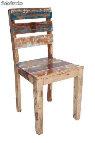 Silla sillas Vintage Industrial madera decapado envejecido