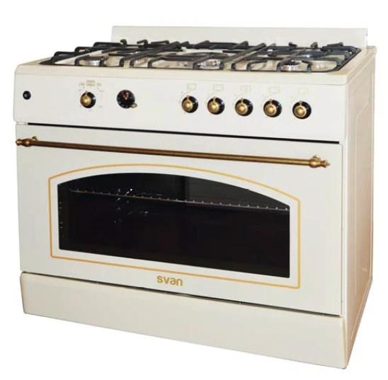 Svan SVK9560FC cocina gas butano crema 90CM 5 fuegos