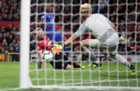 Manchester United's Luke Shaw scores his side's second goal of the game during the Premier League match at Old Trafford, Manchester.