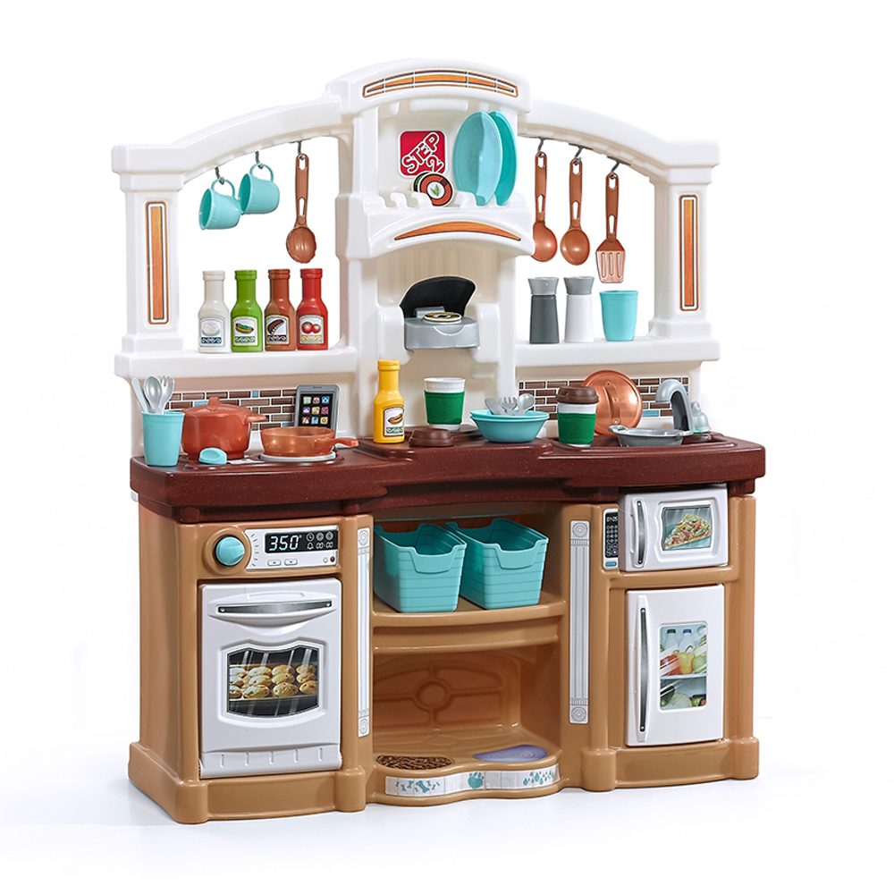 childrens play kitchens white kitchen cabinets fun with friends tan kids step2