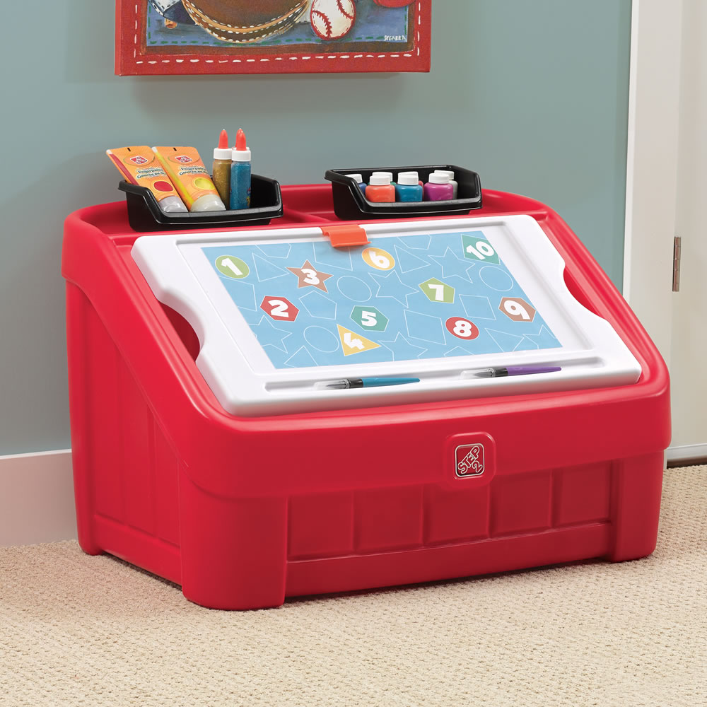 2in1 Toy Box  Art Lid  Red  Kids Toy Box  Step2