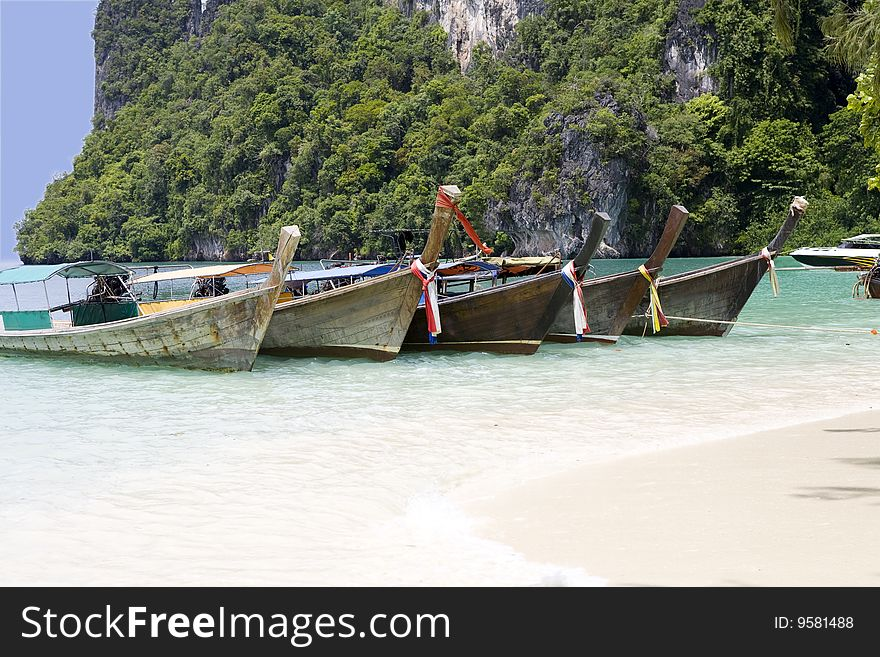 wooden boats on the