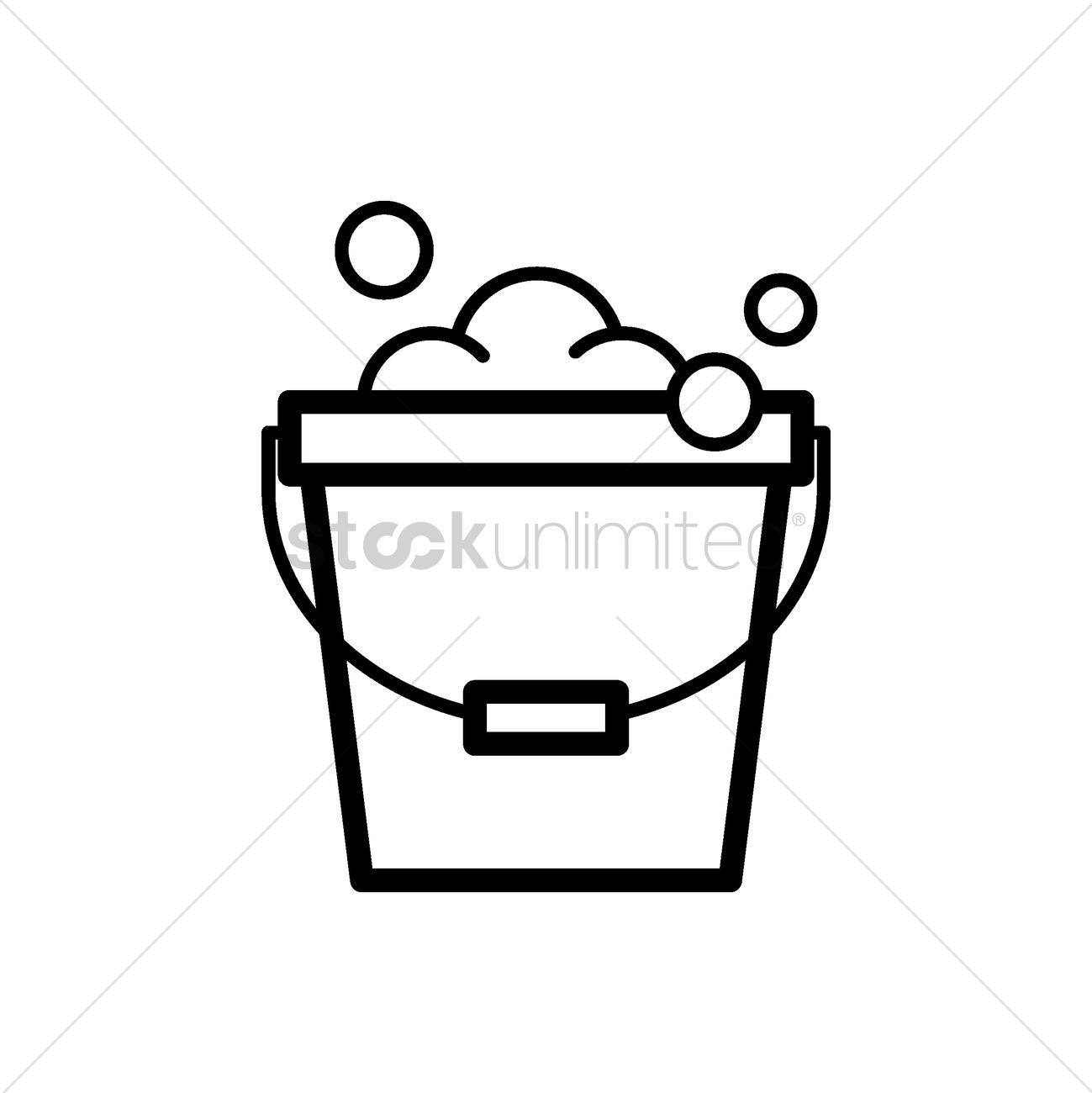 Bucket Of Water And Soap Foam Vector Image