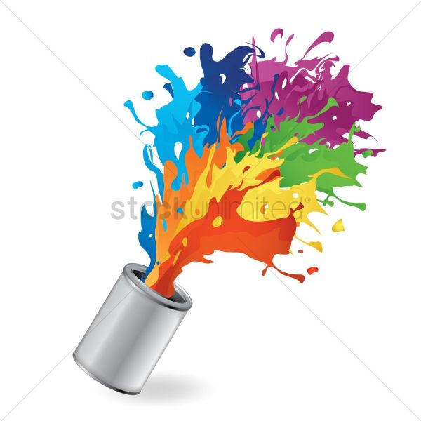 Bucket With Paint Splash Vector - 1528532 Stockunlimited