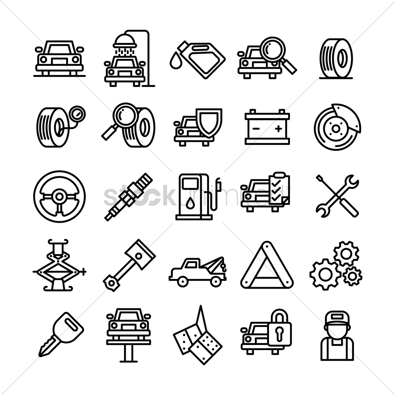 Collection of car service and auto parts Vector Image