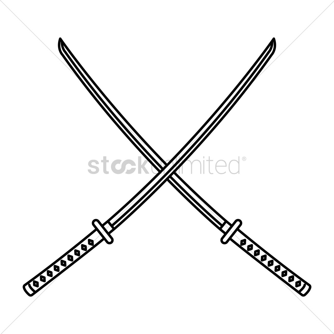 Crossed Katana Vector Image