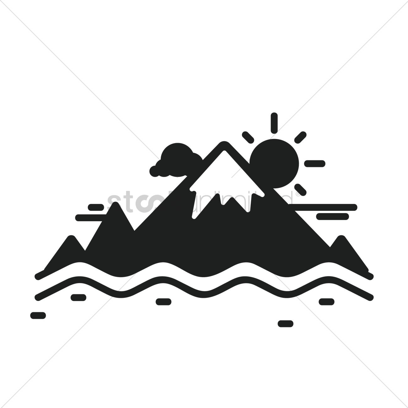 Mountain Sun And Cloud Vector Image