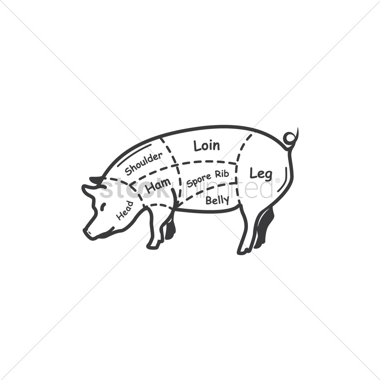 Free Pork Butcher Cut Chart Vector Image