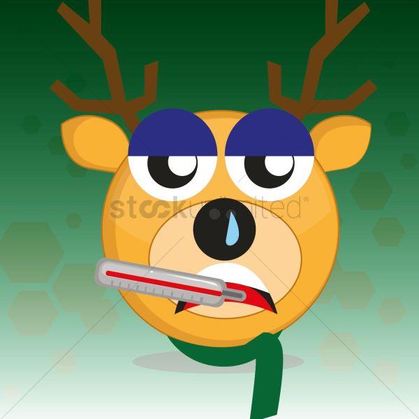 Sick Reindeer Vector - 1537021 Stockunlimited